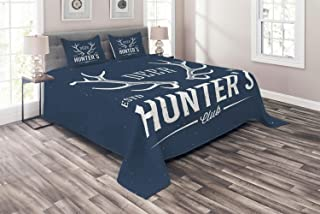 Ambesonne Hunting Coverlet, Deer Hunter's Club Logo Design Antlers Retro Typography Shabby Style, 3 Piece Decorative Quilted Bedspread Set with 2 Pillow Shams, Queen Size, Blue White
