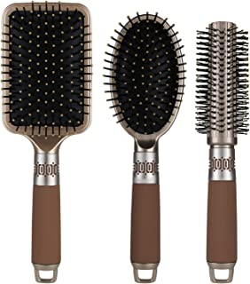 NVTED 3PCS کمربندهای مو، ماساژ برس برس برس مو برس مو ضد شوره موی کمربند برس مو براق مخصوص زنان و مردان برای موهای خشک، ضخیم، لاغر، موهای فرفری