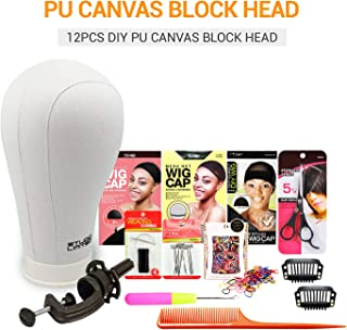 Studio Limited Polyurethane Canvas Block Head DIY Wig Making Starter Kit 12pcs, PU Mannequin Head Wig Display and Stand for Wig Styling (23