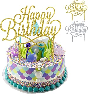 NATUCE Happy Birthday Birthday Cake Topper, Decoración para Tartas de Cumpleaños, Decoración de Pasteles,Acrílico DIY Cupcake Topper Pare Fiesta de Aniversario,2 Piezas-Oro y Plata.