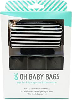 Oh Baby Bags Diaper Bag Clip-On Dispenser Gift Box with 48 Black Unscented Bag, Stripe Duffle