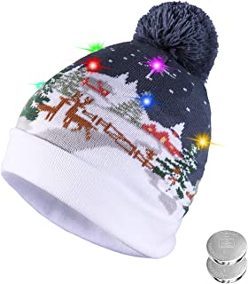 TAGVO LED Light Up Hat Beanie Knit Cap, with 6 Colorful Lights LED Xmas Christmas Hat Beanie, Unisex Winter Snow Hat Sweater Ugly Holiday Hat Party Beanie Cap