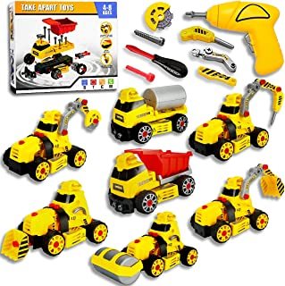 AMKE Take Apart Toys with Electric Drill Inertia Toy 7 in 1 DIY Engineering Building Toy Friction Powered Car Bulldozer Du...