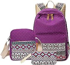ZOUQILAI Mochila de Tres Piezas Bolsa de Estudiante Bolso de Hombro de Viento étnico de la Moda Viento de la Universidad Bolso de Mochila Informal (Color : Purple)