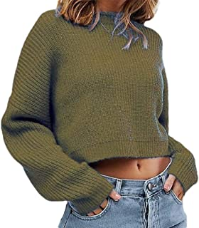 Women Fashion Round Neck Long Sleeve Knitted Pullover Casual Short Sweater Blouse
