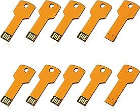 RAOYI 10pcs 2G 2GB USB Flash Drive Flash Drive Metal Key Design USB 2.0 Flash Drive Memory Stick Gold