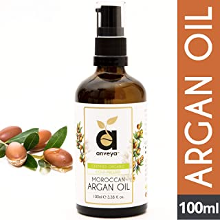 Anveya Pure Moroccan Argan Oil, Cold Pressed Organic, 100ml, for Hair, Skin & Anti-Ageing Face Care