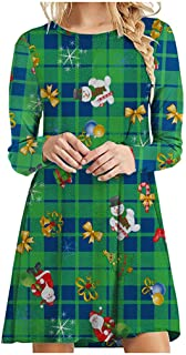 ✿ Spring Color ✿ Womens Christmas Checker Plaid O Neck Long Sleeve Casual Loose Flared Tunics Shirt Pocket Swing Dress