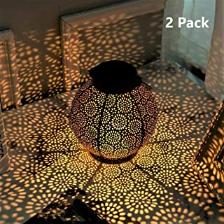 {2 Pack} Outdoor Solar Hanging Lantern Lights Metal LED Decorative Lights for Garden Patio Courtyard Lawn and Tabletop. Vintage and Antique Design. 2 Color Options Black and Bronze.