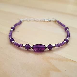 Dainty Amethyst Round Beads Bracelet Sterling Silver Gemstone Handmade February Birthday Jewelry