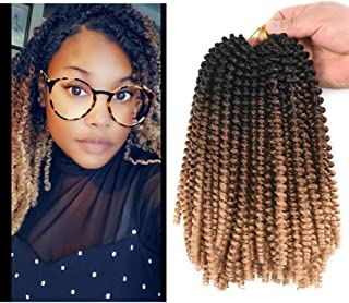 AliRobam 4Packs 8Inch Spring Twist Crochet Braids Braiding Hair Extensions 30Strands Low Temperature Synthetic Spring Curl Crochet Braid Hair For Women (Black-dark brown-light brown)