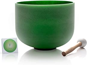TOPFUND F Note Quartz Crystal Singing Bowl Heart Chakra Green Color 8 inch O-ring and Rubber Mallet Included