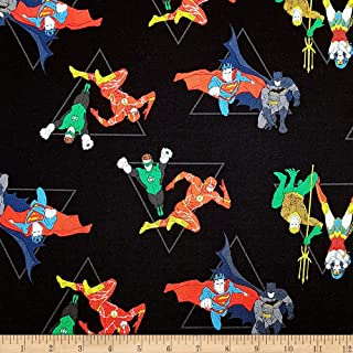 Camelot Fabrics DC Justice League Activated Hero Pyramid Fabric, Black, Fabric By The Yard