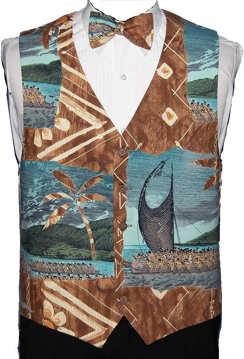 Men's Brown Hawaiian Print Tuxedo Vest and Bow Tie