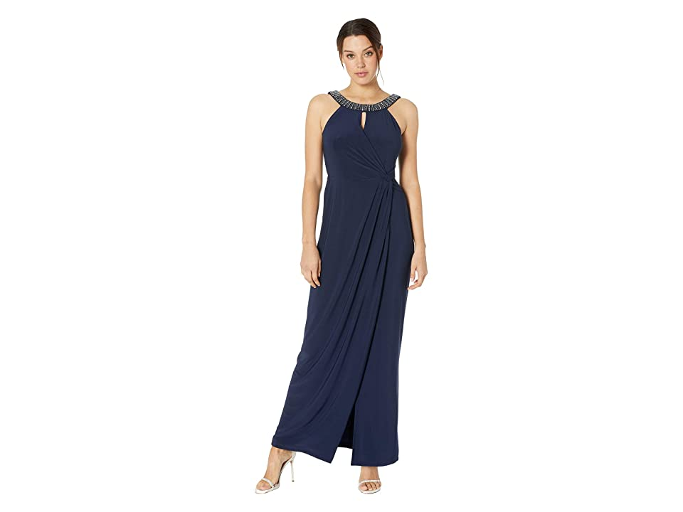 MARINA Halter Bead Neck Side Drape Gown (Navy) Women