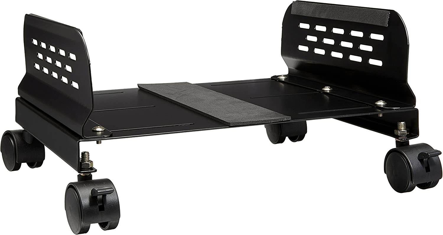 IO Crest Mobile Desktop Tower Computer Metal Floor Stand Rolling Caster Wheels with Tall Support Walls and Adjustable Width from 5