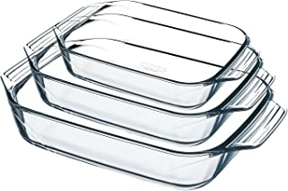 Pyrex Set of 3Rectangular Oven Dishes 8023510Irresistible verre-8023510, Glass, Clear, 30.8x 11.6mm x 41.8cm