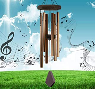 Reliancer Memorial Wind Chime Outdoor Large Deep Tone Amazing Grace Wind-Chime with 6 Aluminum Tubes Elegant Melodic Sympathy Chimes Windbell Home&Garden Decor Patio Balcony Gift (40'', Bronze)