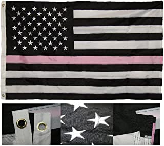 AES 3x5 Embroidered USA Thin Pink Line Breast Cancer 220D Nylon Flag 3'x5' Fade Resistant Double Stitched Premium Penant House Banner Grommets