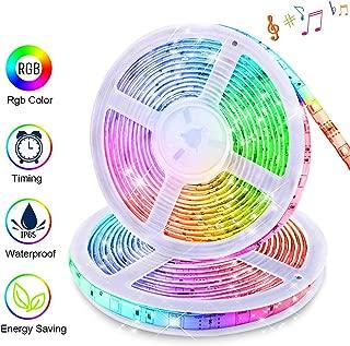 LED Strip Lights Music Sync, KDORRKU 32.8FT/10M Flexible Waterproof RGB LED Light Strips for Bedroom with Remote Color Changing neon Lights 300LEDs 5050 Tape Rope Lights 12V for Room Mood Lighting