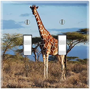 Graphics Wallplates - African Wildlife Giraffe - Double Toggle Wall Plate Cover