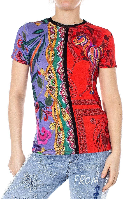 Desigual Women's 19SWTKCUMULTI Multicolor Viscose TShirt