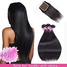 Malaysian Hair 3 Bundles With Closure Straight Remy Hair With Closure Human Hair Extensions Natural Black Double weft by Lovenea(12'' 14'' 16''&10''Closure)