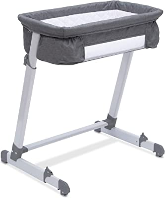 Simmons Kids By The Bed City Sleeper Bassinet - Adjustable Height Portable Crib with Wheels & Airflow Mesh, Grey Tweed