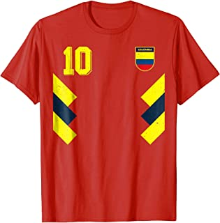 Retro Colombia Soccer Jersey 10 Futbol T-Shirt Away 1990