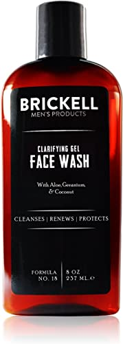 Brickell Men's Clarifying Gel Face Wash for Men, Natural and Organic Rich Foaming Daily Facial Cleanser Formulated Wi...