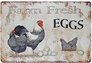 TISOSO Funny Chicken Hen House Sign Farm Fresh Eggs Country Signs Wall Decor Retro Vintage Tin Bar Sign Metal Animals Yard Decor Gift Size 8