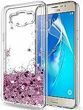 LeYi Funda Samsung Galaxy J7 2016 Silicona Purpurina Carcasa con HD Protectores de Pantalla,Transparente Cristal Bumper Telefono Gel TPU Fundas Case Cover Para Movil Galaxy J7 2016 Oro Rosa
