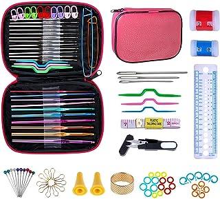 NIAGUOJI Kit crochet 100pcs Accessoires Nécessaires à Tricoter Aiguilles à Tricoter au Crochet Ergonomiques Pour débutants...
