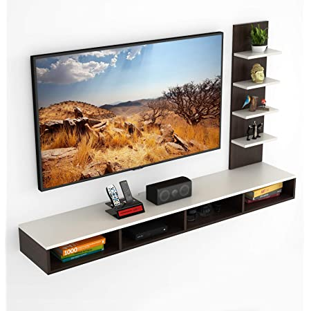 """BLUEWUD Primax Engineered Wood TV Entertainment Wall Unit/Set Top Box Stand for Living Room -Ideal for Upto 55"""" Tv (Wenge Finish)"""