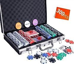 Homwom Casino Poker Chip Set - 200PCS/300PCS Poker Chips with Aluminum Case, 11.5 Gram Chips for Texas Holdem Blackjack Ga...