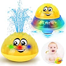 ZHENDUO Bath Toys, 2 in 1 Induction Spray Water Toy & Space UFO Car Toys with LED Light Musical, Automatic Sprinkler Batht...