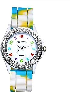 Lancardo Orologio da Polso Donna in Silicone,Orologio Camuffamento Colore a Scelta Bianco Rosso Blu Giallo Regalo Perfetto