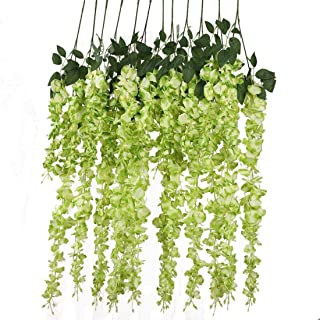 12pcs Artificial Silk Wisteria Vine Ratta Silk Hanging Flower Wedding Decor,Green