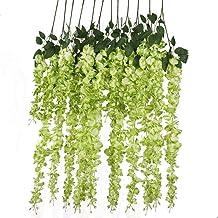 12pcs Artificial Silk Wisteria Vine Ratta Silk Hanging Flower Wedding Decor,Green