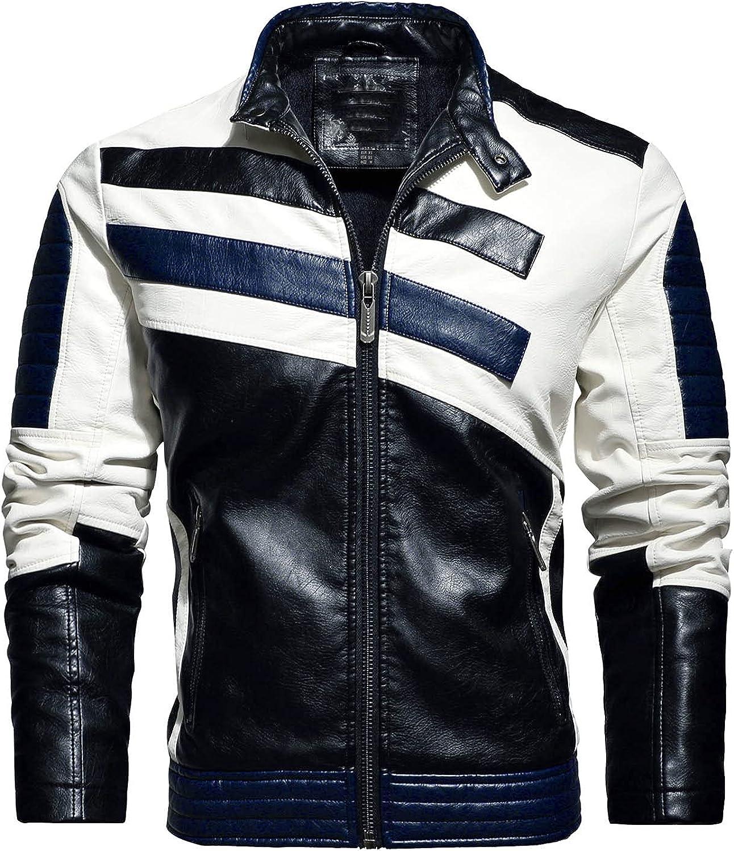 Men Zipper Warm Leather Coat Long Sleeve Pockets Plush Coats Thicken Motorcycle Blouse Casual Autumn&Winter Jackets