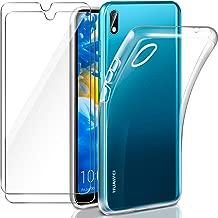 "Leathlux Cover Huawei Y5 2019 Custodia Trasparente + 2 × Pellicola Vetro Temperato Y5 2019 Huawei, Morbido Silicone Custodie Protettivo TPU Gel Sottile Cover per Huawei Y5 2019 5.71"""