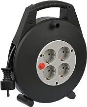 Brennenstuhl Vario Line Kabelbox 4-fach / Mini-Kabeltrommel Indoor-Kabeltrommel für Haushalt, 10m Kabel, Made in Germany schwarz/grau