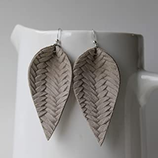 Genuine Italian Leather & Sterling Silver Leaf Earrings // Warm Grey Braided // Joanna Gaines Inspired