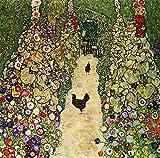 Berkin Arts Gustav Klimt Giclee Kunstdruckpapier Kunstdruck Kunstwerke Gemälde Reproduktion Poster Drucken(Gartenweg mit Hühnern)