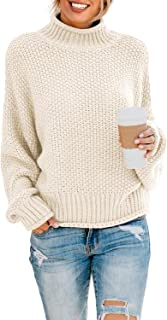 Womens Casual Long Sleeve Turtleneck Chunky Knit Pullover...