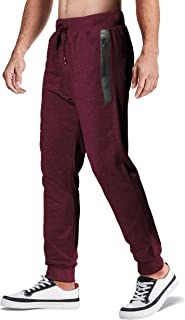 Men's Jogger Pants Closed Bottom Running Sweatpants with Zipper Pockets for Workout, Jogging, Yoga