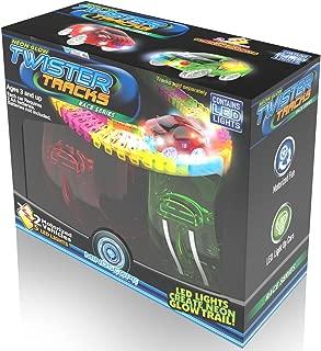 Mindscope Twister Tracks Neon Glow in The Dark Add On Race Car Series Set of 2 (Red Race & Yellow Race Cars)