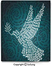 Modern Gallery Wrapped Canvas Wall Art Dove Symbol of Peace Words Over Stop The War Warfare Theme Abstract Art Ready to Hang for Living Room Kitchen Home Decor,24x36inch Black White