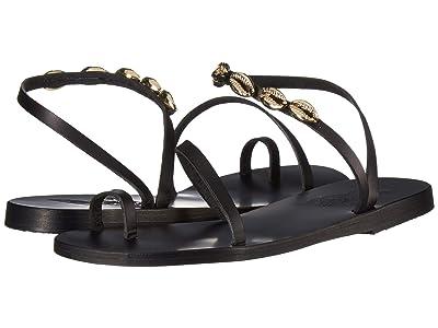 Ancient Greek Sandals Apli Eleftheria Gold Shells (Black) Women