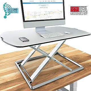 Deskfit 3in1 höhenverstellbarer Schreibtisch-Aufsatz 80cm, stufenlose Pneumatik Gasfeder, hochwertige Aluminium Sitz-Steh Workstation, stabile Doppel-X Konstruktion, Laptop-Tisch DF50 Monitorständer